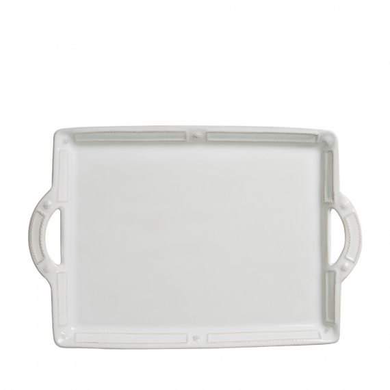Berry & Thread French Panel Whitewash Handled Tray / Platter
