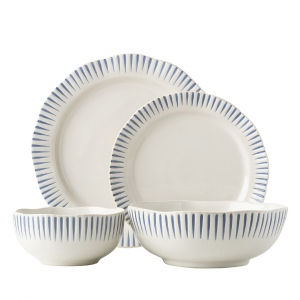 Sitio Stripe Indigo 4pc Place Setting