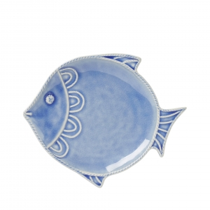 "Juliska Berry & Thread Delft Blue Crackle ""Fish"" Dessert and Salad Plate Set of 4"