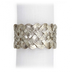 L'Objet Braid Napkin Jewels Set of 4 Platinum
