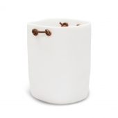 Water Bath Waste Basket With Leather Handles White