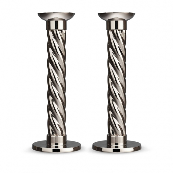 Platinum Carrousel Large Candlesticks Set of 2