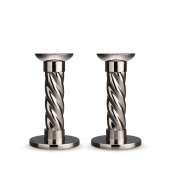 L'Objet Platinum Carrousel Small Candlesticks Set of 2