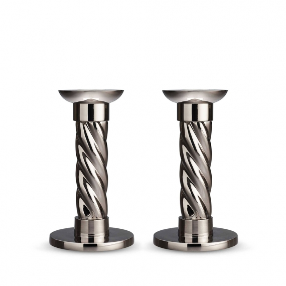 Platinum Carrousel Small Candlesticks Set of 2
