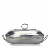 MATCH Pewter Toscana Pyrex Casserole Dish With Lid Silver