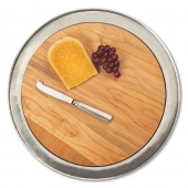 MATCH Pewter Round Cheese Tray Wood
