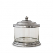 MATCH Pewter Glass Cookie Jar Silver