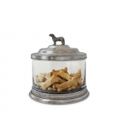 MATCH Pewter Glass Cookie Jar With Dog Finial Silver
