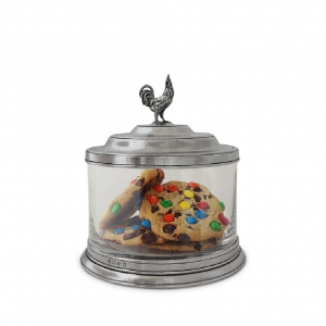 Glass Cookie Jar with Rooster Finial