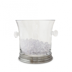 MATCH Pewter Crystal Ice Bucket With Handles Clear