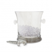 MATCH Pewter Crystal Ice Bucket With Handles And Tongs Set Clear
