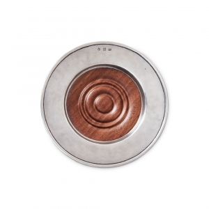 MATCH Pewter Convivio Wine Coaster With Wood Insert Wood