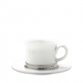 MATCH Pewter Convivio Cappuccino / Tea Cup With Saucer Set Of 2 White