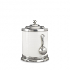 MATCH Pewter Convivio Caffe Canister With Scoop White