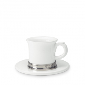 MATCH Pewter Convivio Espresso Cup With Saucer Set Of 2 White
