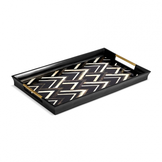 Deco Noir Rectangular Tray - Large