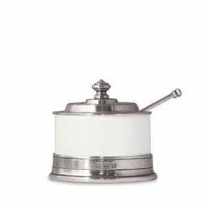 MATCH Pewter Convivio Jam Pot With Spoon White