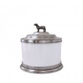 MATCH Pewter Convivio Cookie Jar With Dog Finial White