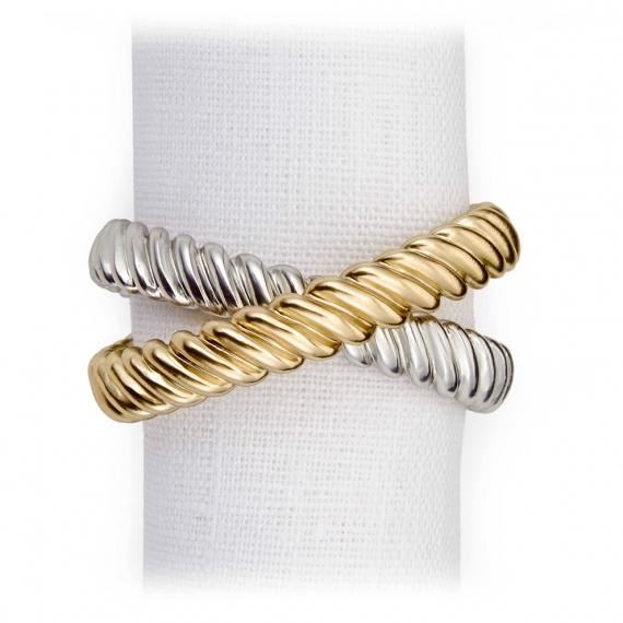 Deco Twist Napkin Jewels Set of 4 - Gold & Platinum