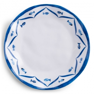 Q Squared Sardinia Melamine Dinner Plate Set Of 4 Blue