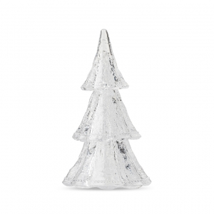 "Berry & Thread 10.5"" 3pc Stacking Glass Tree in Clear with Snow"