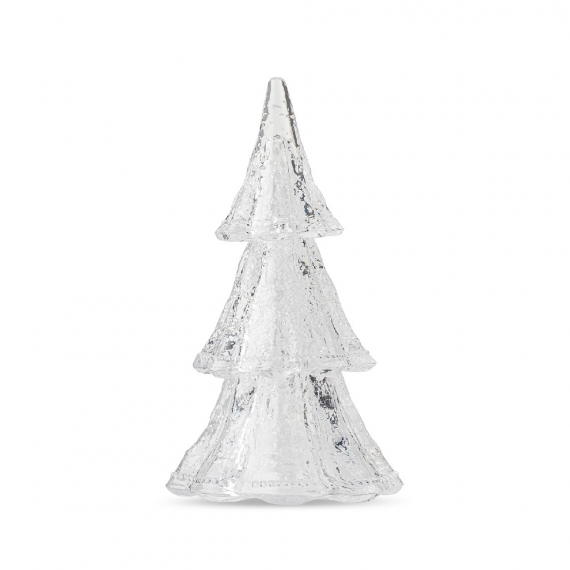 """Berry & Thread 10.5"""" 3pc Stacking Glass Tree in Clear with Snow"""
