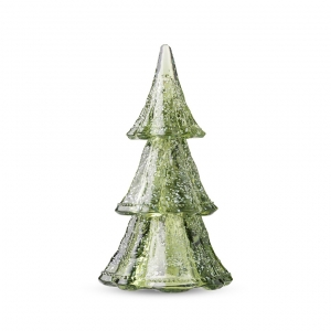 "Berry & Thread 10.5"" 3pc Stacking Glass Tree in Evergreen with Snow"