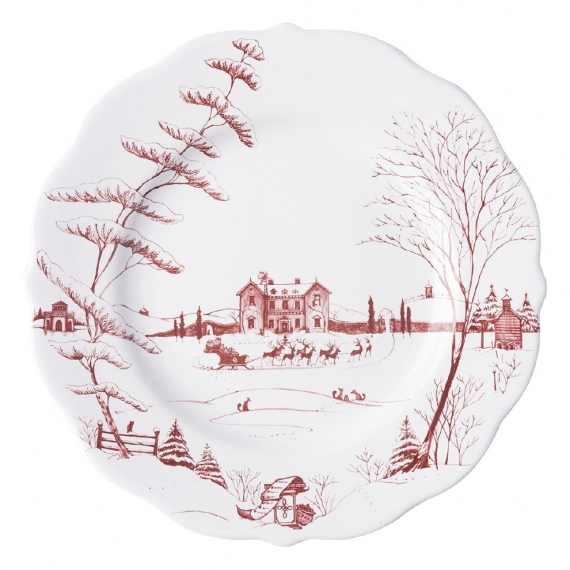 Country Estate Winter Frolic Ruby Dinner Plate Christmas Eve Set of 4