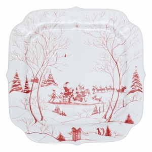 Juliska Country Estate Winter Frolic Ruby Santa's Cookie Tray Naughty And Nice List Red