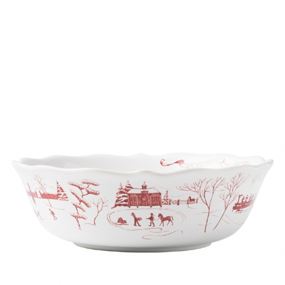"""Country Estate Winter Frolic Ruby 10"""" Serving Bowl"""