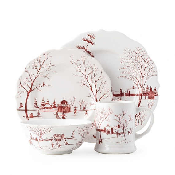 Country Estate Winter Frolic Ruby 4pc Setting