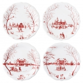 """Juliska Country Estate Winter Frolic """"Mr. & Mrs. Claus"""" Ruby Party Plates Set Of 4 Red"""