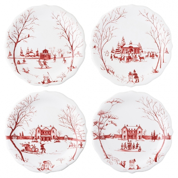 "Country Estate Winter Frolic ""Mr. & Mrs. Claus"" Ruby Party Plates Set of 4"