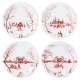 "Juliska Country Estate Winter Frolic ""Mr. & Mrs. Claus"" Ruby Party Plates Set Of 4 Red"