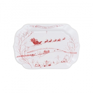 Juliska Country Estate Winter Frolic Ruby Gift Tray Joy To The World Set Of 2 Red