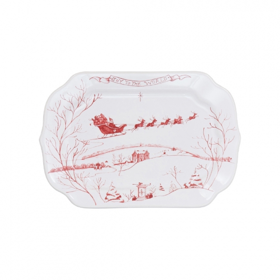 Country Estate Winter Frolic Ruby Gift Tray Joy to the World Set of 2