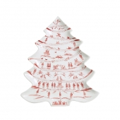 Juliska Country Estate Winter Frolic Ruby Tree Platter 12 Days Of Christmas Red