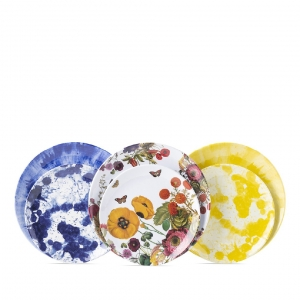 Juliska Field Of Flowers Melamine Dessert / Salad Plate Set Of 8 Multi