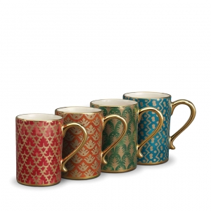 L'Objet Fortuny Assorted Mugs Set of 4 Multicolor