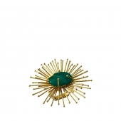 Kim Seybert Flare Napkin Ring In Gold & Emerald Set Of 4