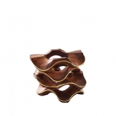 Kim Seybert Pavilion Napkin Ring In Brown & Gold Set Of 4 Wood