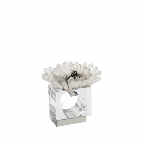 Bloom Napkin Rings in Clear & Silver Set of 4