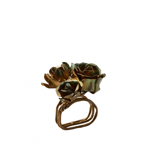 Bouquet Napkin Ring in Gold Set of 4