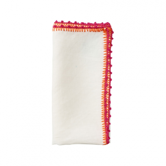 Knotted Edge Napkin in White, Pink & Orange Set of 4