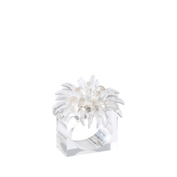 Blossom Napkin Ring in Clear Set of 4
