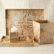Kim Seybert Distressed Tissue Box Gold