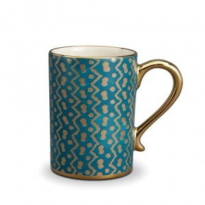 L'Objet Fortuny Tapa Mugs Set of 4 Teal