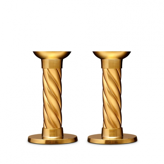 Gold Carrousel Small Candlesticks Set of 2