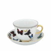 Vista Alegre Butterfly Parade Tea Cup And Saucer Set Of 4 Multi