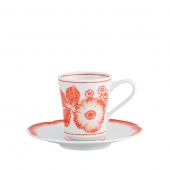 Vista Alegre Coralina Coffee Cup and Saucer Set Of 4 Red